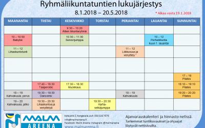 Kevään ryhmäliikuntatunnit alkavat loppiaisen jälkeen 8.1.18
