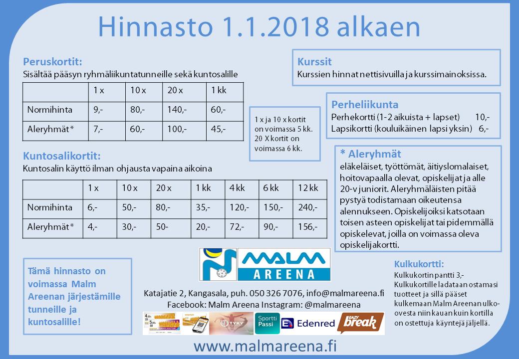 Hinnasto 2018
