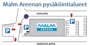 Pysäköinti Malm Areenalla
